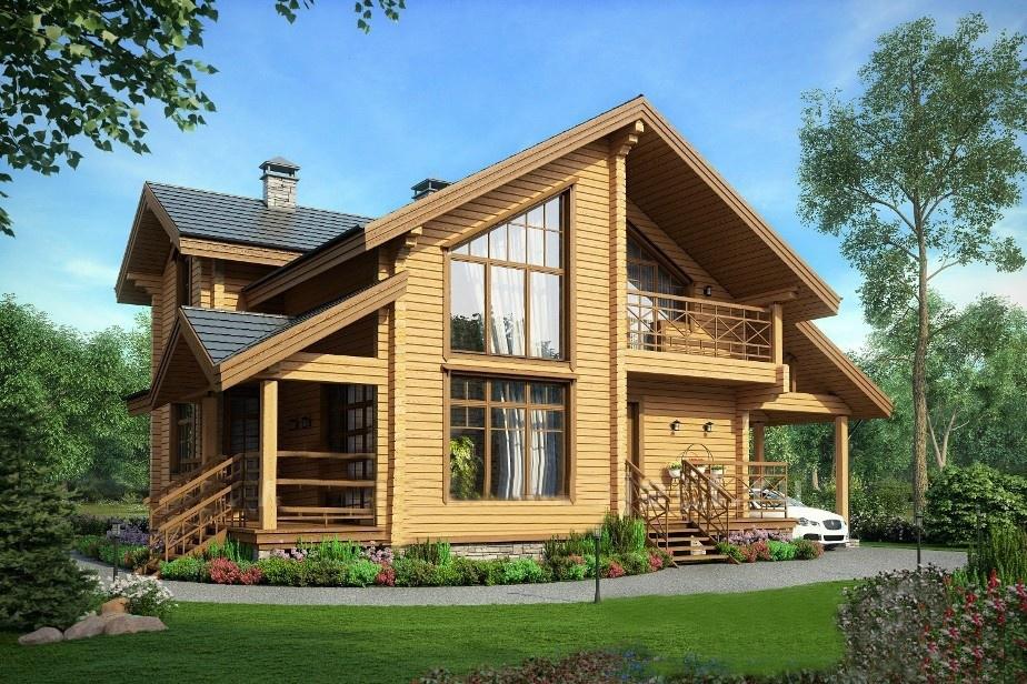 Деревянные двухэтажные дома фото